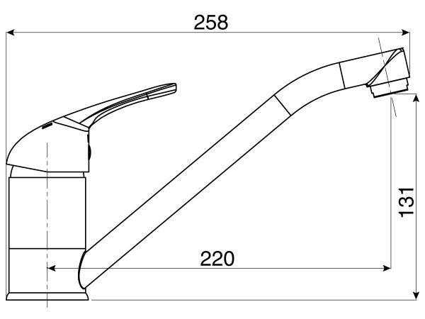 Base Sink Mixer line drawing