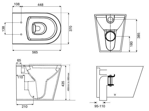 Kado Lux Toilet Suite dimensions