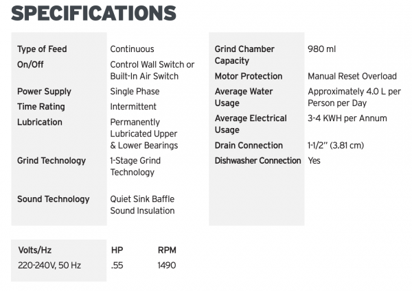 InSinkErator Model 56 Specs