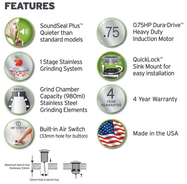 InSinkErator Model 66 Features