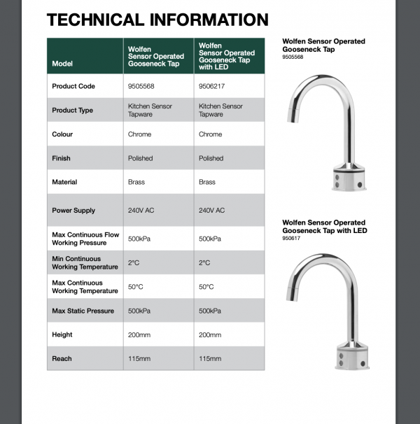 Wolfen sensor-operated gooseneck tap info