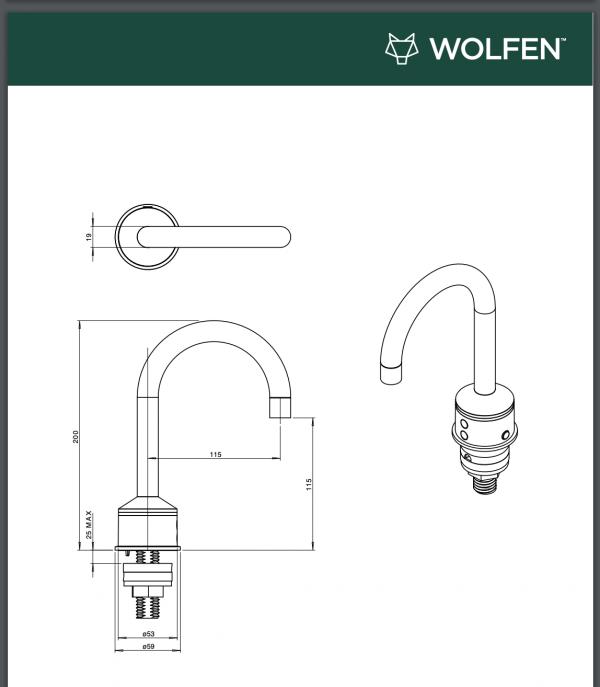 Wolfen sensor-operated gooseneck tap drawings